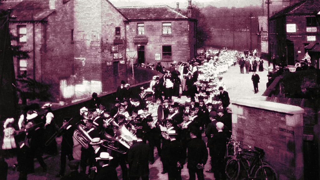 "Photograph from Honley Civic Society's ""Honley Bridge and Newtown""."